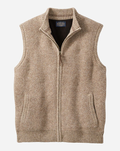 MEN'S SHETLAND ZIP VEST IN COYOTE TAN HEATHER