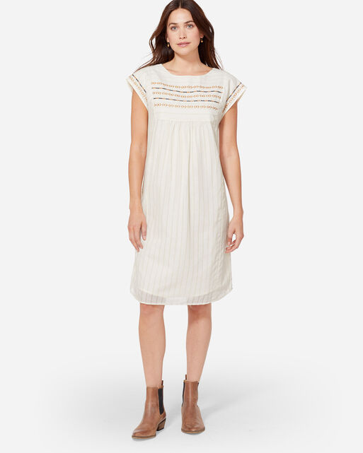 ESME EMBROIDERED DRESS, ANTIQUE WHITE, large