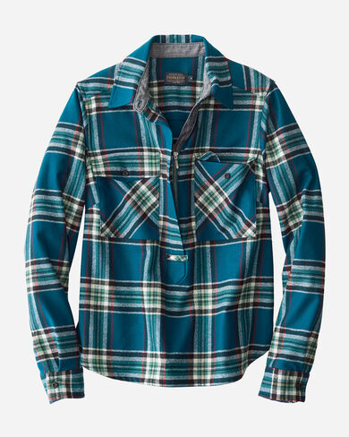 ULTRAFINE MERINO PAIGE POPOVER SHIRT IN TURQUOISE PLAID
