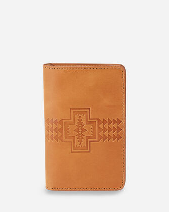 LEATHER EMBOSSED PASSPORT HOLDER IN TAN
