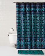 TUCSON EMBROIDERED SHOWER CURTAIN IN TURQUOISE/NAVY