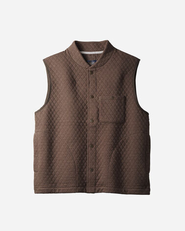MEN'S QUILTED KNIT VEST IN BROWN HEATHER