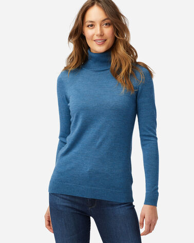 ALTERNATE VIEW OF WOMEN'S TIMELESS MERINO TURTLENECK IN DEEP TEAL HEATHER