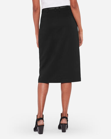 ULTRA 9 STRETCH WOOL SLIT PENCIL SKIRT