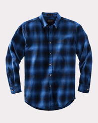 LISTER FLANNEL SHIRT, BLUE OMBRE, large