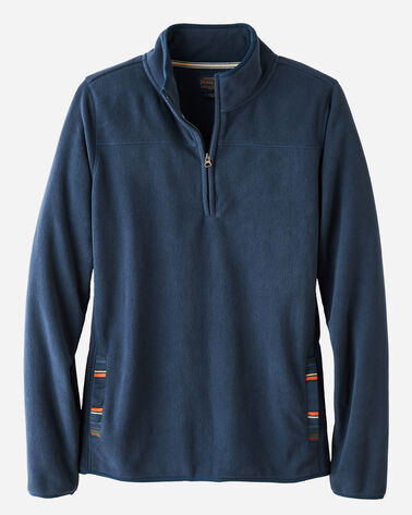 HALF-ZIP FLEECE PULLOVER, NAVY, large