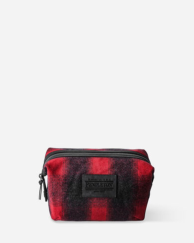 BUFFALO CHECK ESSENTIALS POUCH IN RED/BLACK OMBRE