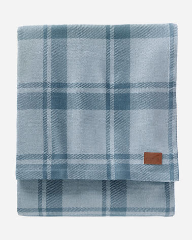 STILLWATER COTTON PLAID BLANKET, BLUE, large
