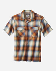 SHORT-SLEEVE BOARD SHIRT, BLUE/ORANGE/RUST OMBRE, large