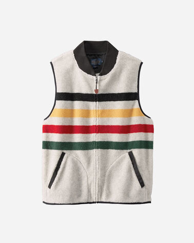 GLACIER PARK STRIPE FLEECE VEST, GLACIER STRIPE IVORY, large