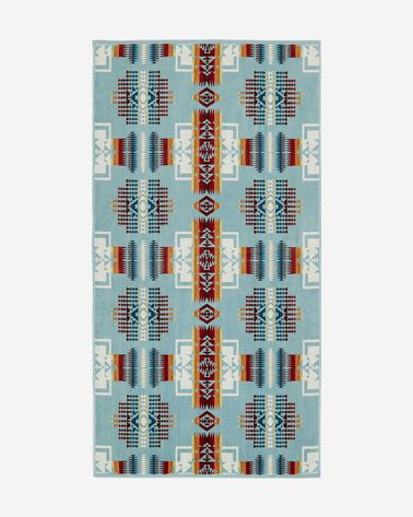 CHIEF JOSEPH BATH TOWEL, AQUA, large