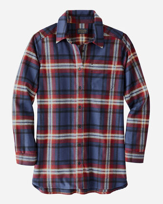 ULTRALUXE MERINO ONE POCKET TUNIC IN NAVY/RED LARGE PLAID
