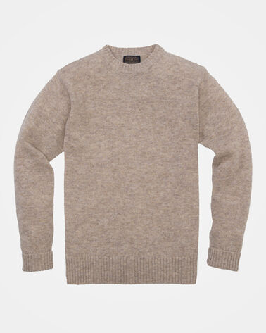 MEN'S SHETLAND WASHABLE WOOL CREWNECK IN OAT HEATHER