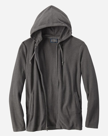 ADDITIONAL VIEW OF PIMA COTTON FULL ZIP HOODIE IN CHARCOAL