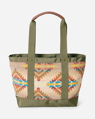 ALTERNATE VIEW OF TAOS TRAIL ZIP TOTE IN TAN