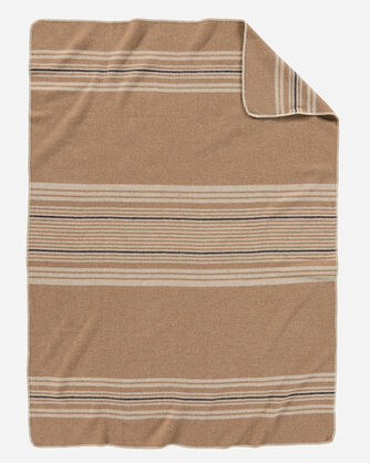 ECO-WISE WOOL THROW, CAMEL IRVING STRIPE, large