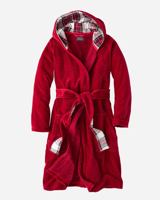 WOMEN'S SOLID COTTON ROBE IN RED