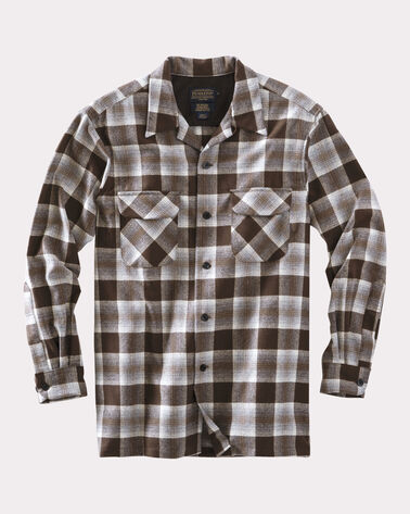ULTRAFINE MERINO BOARD SHIRT, BROWN PLAID, large