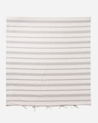 ADDITIONAL VIEW OF TICKING STRIPE DUVET COVER SET IN IVORY