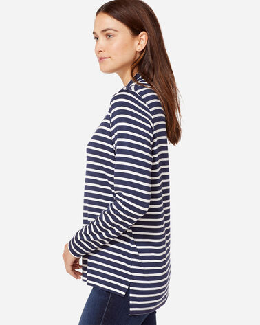 STRIPE JERSEY COWLNECK, NAVY/WHITE, large
