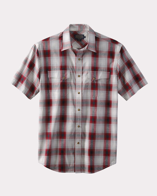 SHORT-SLEEVE WESTERN SHIRT, RED/BLACK DIAMOND PLAID, large