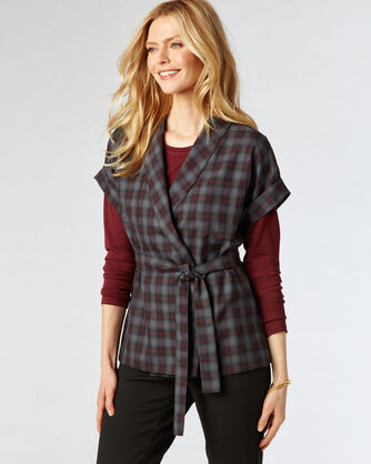 RYER WRAP SHIRT, SLATE/WINE OMBRE, large