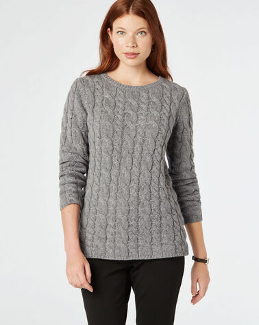 LUXE CABLE SWEATER, SOFT GREY HEATHER, large