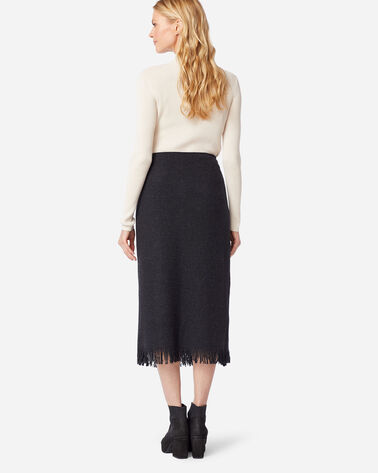 ADDITIONAL VIEW OF FRINGED WOOL WRAP SKIRT IN BLACK MIX