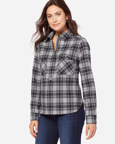 ADDITIONAL VIEW OF ULTRAFINE MERINO PAIGE POPOVER SHIRT IN GREY/BLACK PLAID