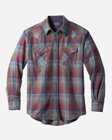MEN'S SNAP-FRONT WESTERN CANYON SHIRT IN GREY/RED OMBRE
