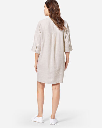 ADDITIONAL VIEW OF STRIPE LINEN DRESS IN TAN/WHITE