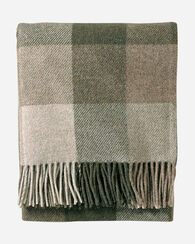 ECO-WISE WOOL FRINGED THROW, JUNIPER/FAWN, large