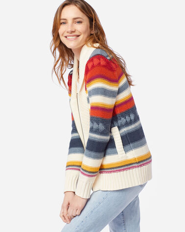 WOMEN'S CAMPFIRE ZIP CARDIGAN IN IVORY/INDIGO