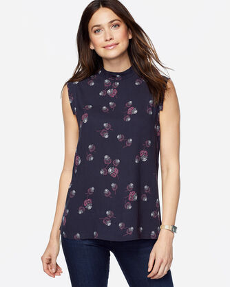 CAP-SLEEVE THISTLE TOP, MIDNIGHT NAVY, large