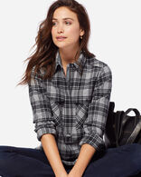 ULTRAFINE MERINO PAIGE POPOVER SHIRT IN GREY/BLACK PLAID