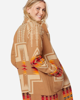 ADDITIONAL VIEW OF WOMEN'S HARDING ARCHIVE BLANKET COAT IN TAN HARDING