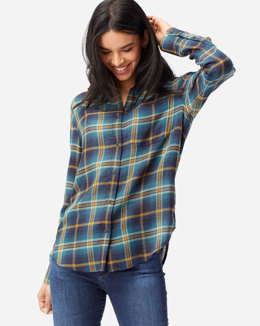 WOMEN'S HELENA BUTTON FRONT SHIRT IN BLUE PLAID