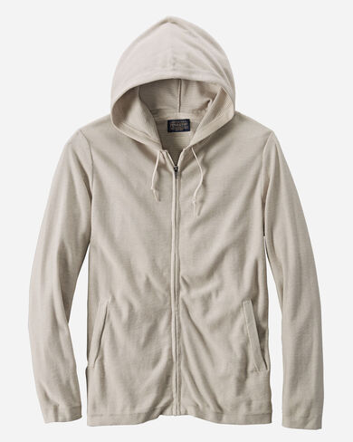 PIMA COTTON FULL ZIP HOODIE IN OATMEAL