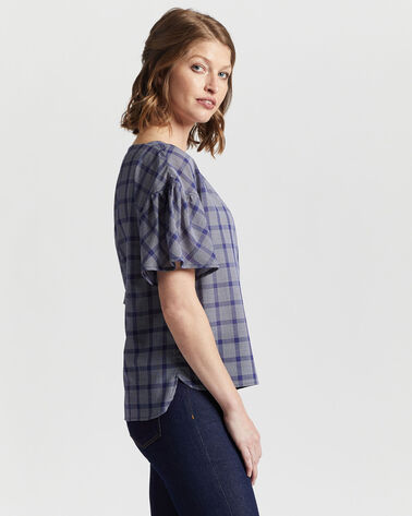 ALTERNATE VIEW OF WOMEN'S AIRY SHORT-SLEEVE BOATNECK TOP IN NAVY/WHITE PLAID