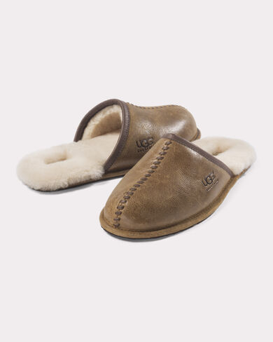 LEATHER AND SHEARLING SCUFFS, CHESTNUT, large