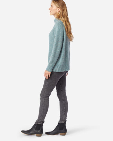 ALTERNATE VIEW OF WOMEN'S DONEGAL MERINO SWEATER IN SEA GLASS BLUE