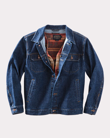 JEAN JACKET WITH REMOVABLE WOOL VEST, DENIM/RED BROKEN ARROW, large