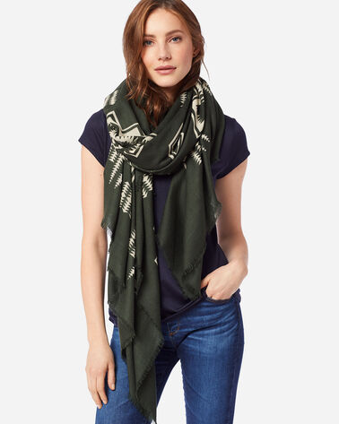 ADDITIONAL VIEW OF HARDING FEATHERWEIGHT WOOL SCARF IN ARMY