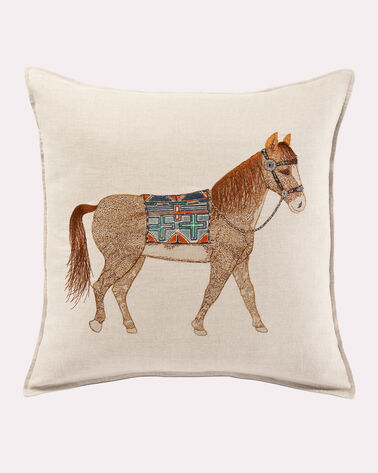 QUARTER HORSE PILLOW, NATURAL LINEN, large