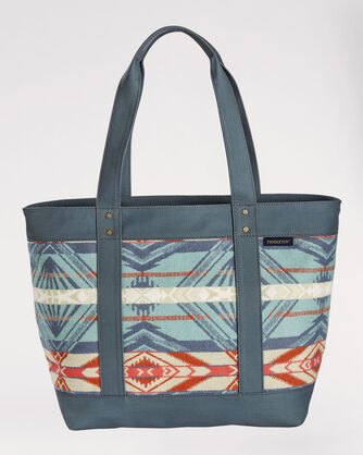 COQUILLE RIVER LARGE ZIP TOTE, AQUA/CORAL, large