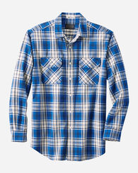 MEN'S BEACH SHACK COTTON TWILL SHIRT, COBALT PLAID, large