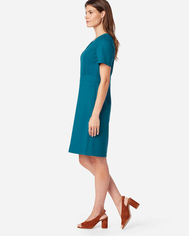 ALTERNATE VIEW OF SEASONLESS WOOL SHORT-SLEEVE DRESS IN MOROCCAN BLUE