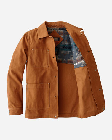 INSIDE VIEW OF MEN'S BALDWIN CANVAS WORK JACKET IN WHISKEY