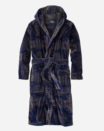 MEN'S JACQUARD COTTON TERRY ROBE IN CAPERS