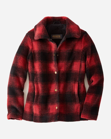 WOMEN'S DANVILLE CHECK SHERPA JACKET IN RED/BLACK BUFFALO CHECK